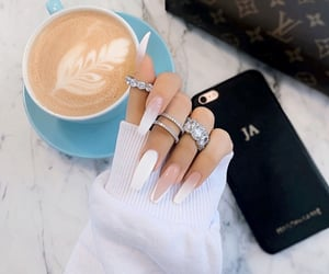 nails, coffee, and jewelry image