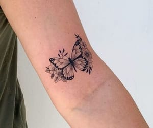 butterfly, tattoo, and girl with tattoos image