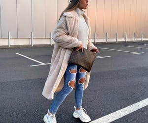coat, fashion, and sneakers image