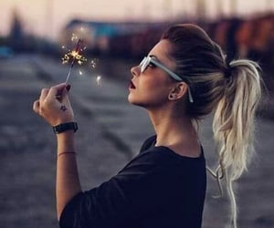 fireworks, girl, and tattoo girl image