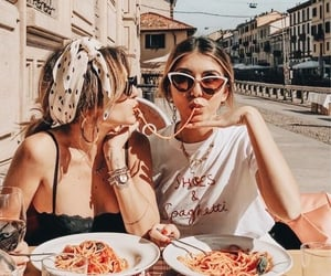 best friends, girls, and food image