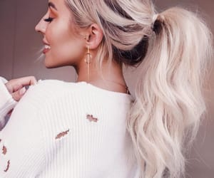 hair, blondehair, and ponytail image