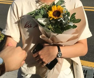 flowers, couple, and sunflower image