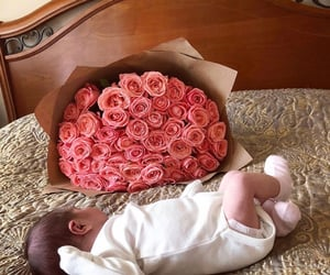 baby, bouquet, and happiness image