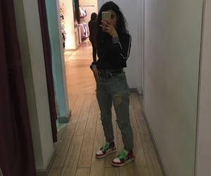 boyfriend jeans, nike, and curly hair image