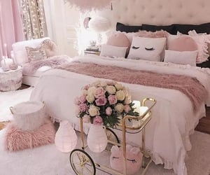 pink, home, and bed image