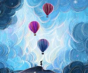air balloon, kawaii, and art image
