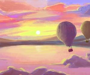 air balloon, background, and kawaii image