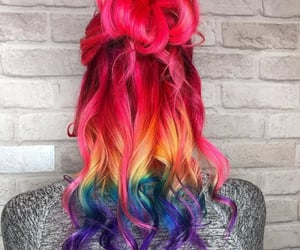 colorful hair, rainbow hair, and hair image