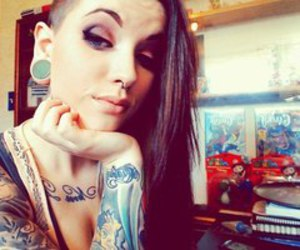 girl, tattoo, and Plugs image