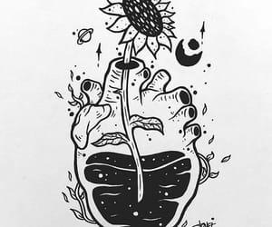 dibujos, flor, and luna image