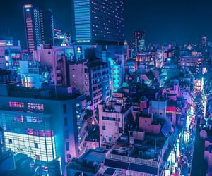 city, night, and blue image