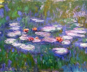 art, painting, and water lilies image