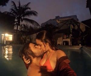 couple, kiss, and pool image