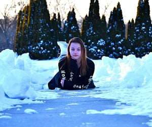 Self Portrait, snow, and friends image