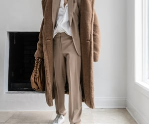 blogger, camel blazer, and bottegaveneta pouch image