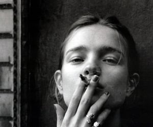 Natalia Vodianova, smoke, and black and white image