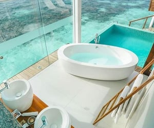 bathroom, beach, and travel image