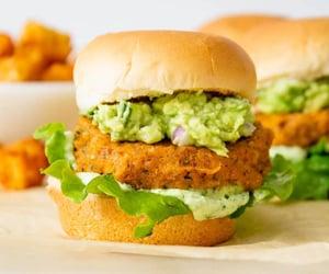 burger, vegan, and vegetarian image