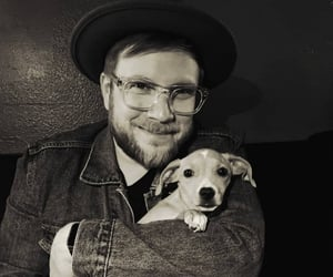 band, black and white, and dog image