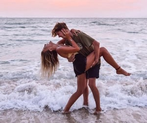 goals, beach, and couple image