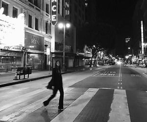 black and white, city, and girl image