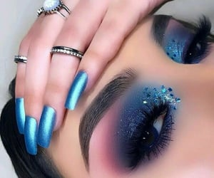 blue, makeup, and nails image