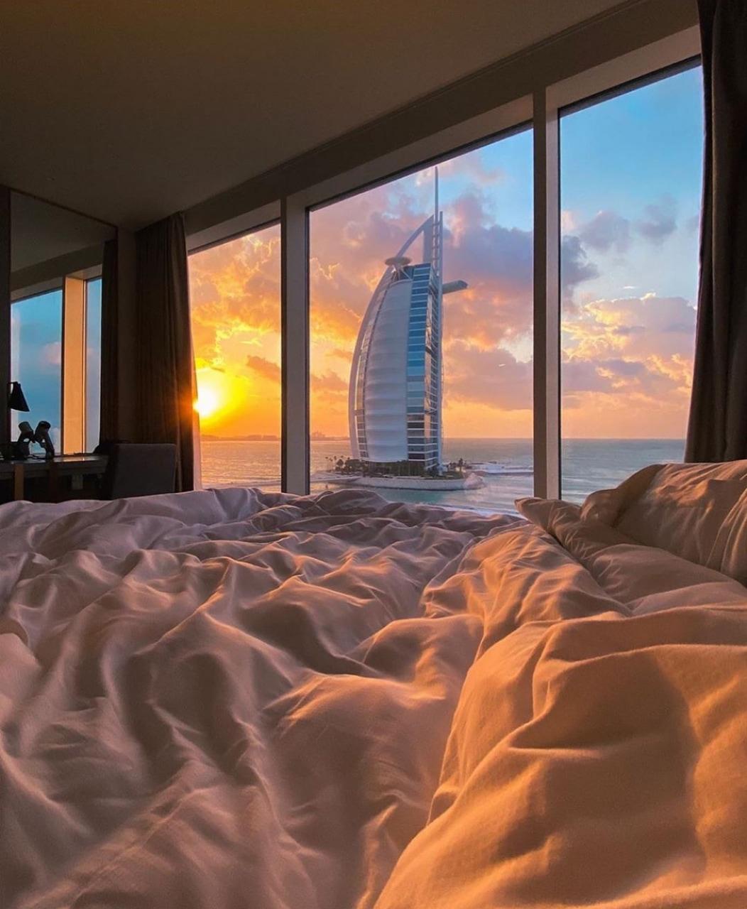 view, sunset, and Dubai image