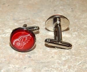 detroit red wings, wedding cufflinks, and red wings logo image