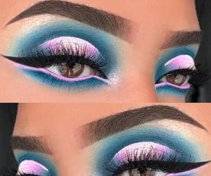 blue eyeshadow, eyebrows, and smokey eyeshadow image
