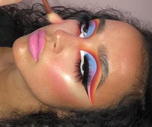 blue, colorful eyeshadow, and blush image