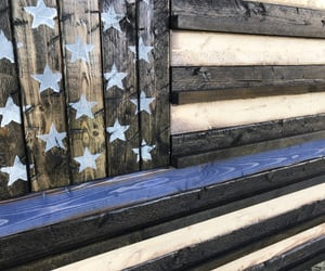 american flag, police academy, and thin red line image