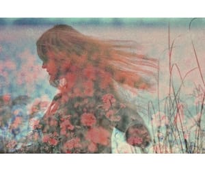 aesthetic, double exposure, and flowers image