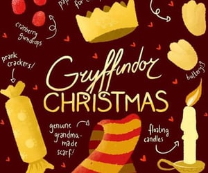 harry potter, christmas, and gryffindor image