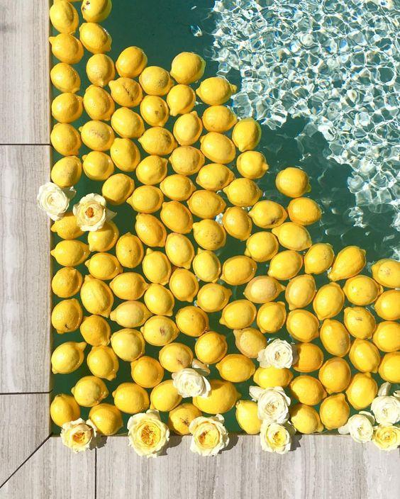 lemon, yellow, and pool image