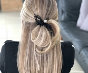 blonde, hairstyle, and half-updo image