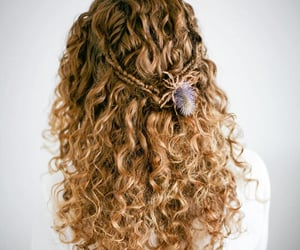 curly hair, hairstyle, and half-updo image