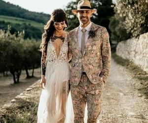 bride, groom, and tattoo girls image