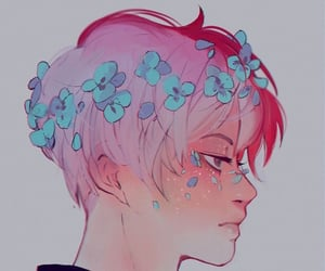 anime, hair, and blue image