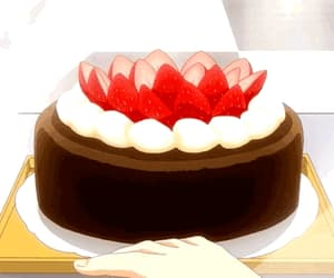 cake, anime food, and chocolate image