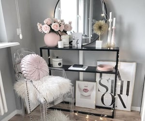 home, pink, and flowers image