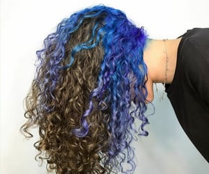 bluehair, color hair, and curly hair image
