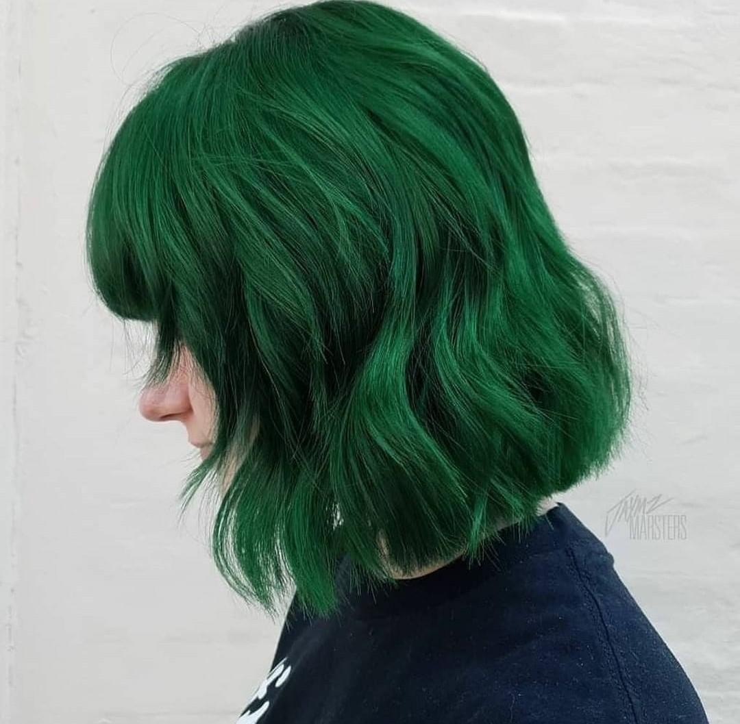 hair dye, color hair, and green hair image