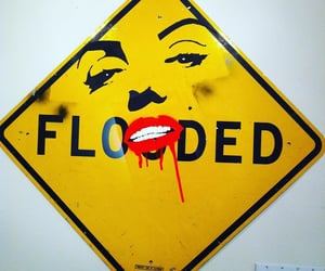 flooded, signs, and grafitti image