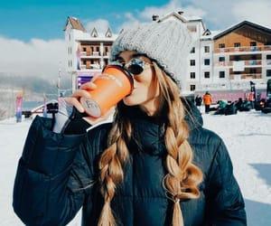 brunette, girl, and drink image