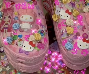 hello kitty, pink, and sanrio image