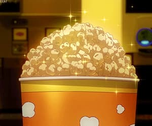 gif, popcorn, and anime food image
