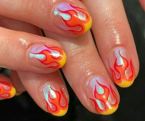 nails, fire, and nail art image