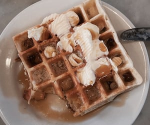 food, waffles, and butter image