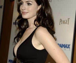 Anne Hathaway, dark hair, and famous image
